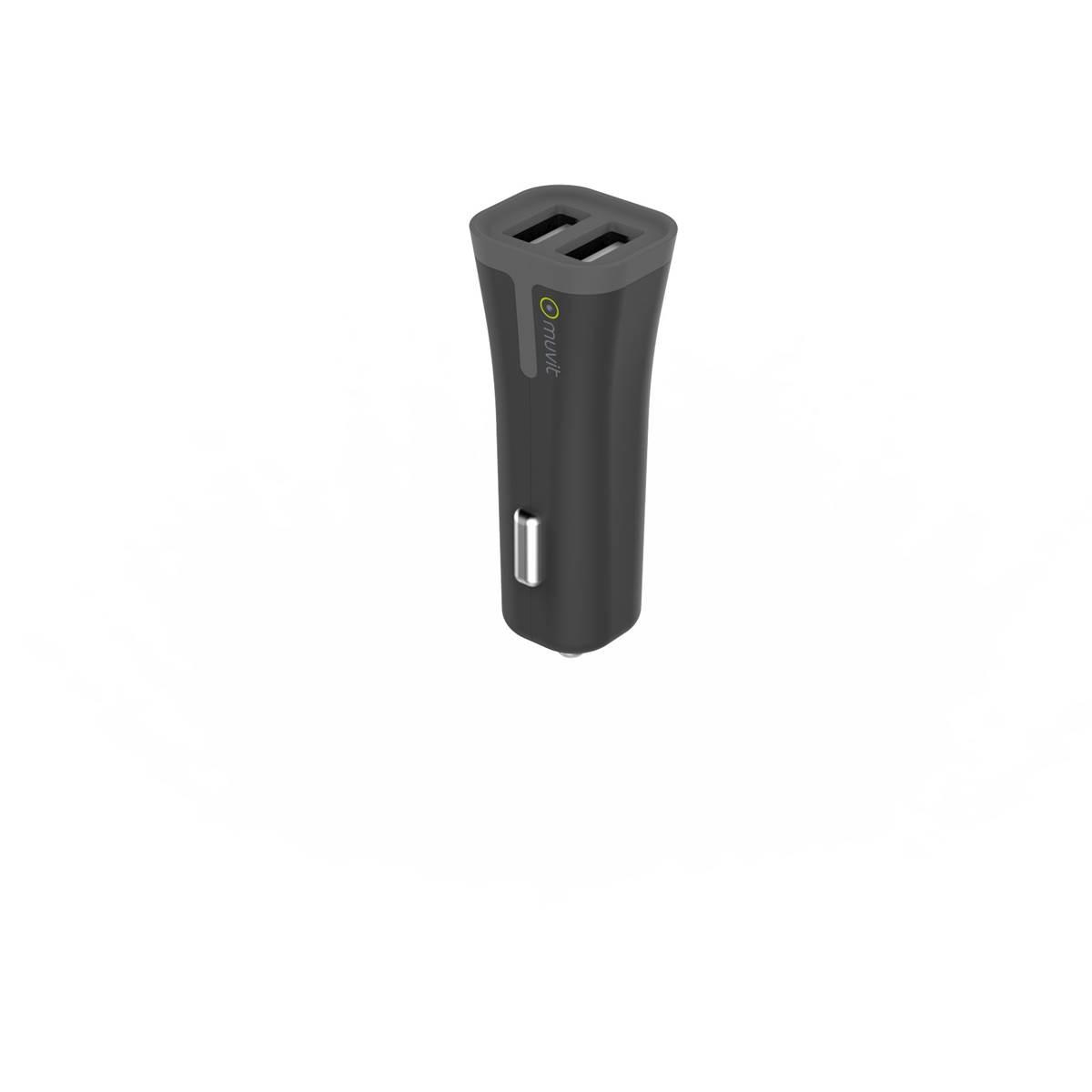 Chargeur allume-cigare 2 entrées USB 2,4A Muvit
