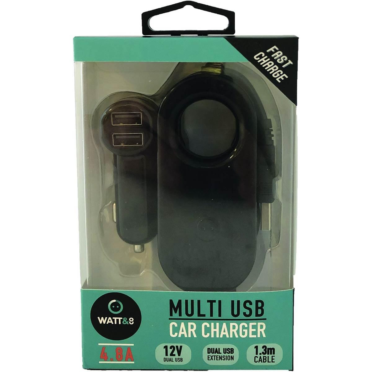 Chargeur allume cigare 2 entrées USB 4,8A + Hub 2 USB 4,8A Watt&Co