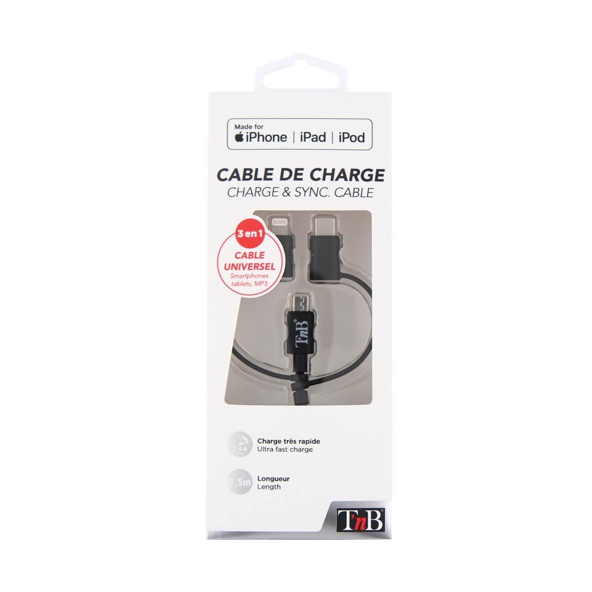 Câble USB avec connecteurs Lightning + micro USB + type C - coloris noir - T'nB