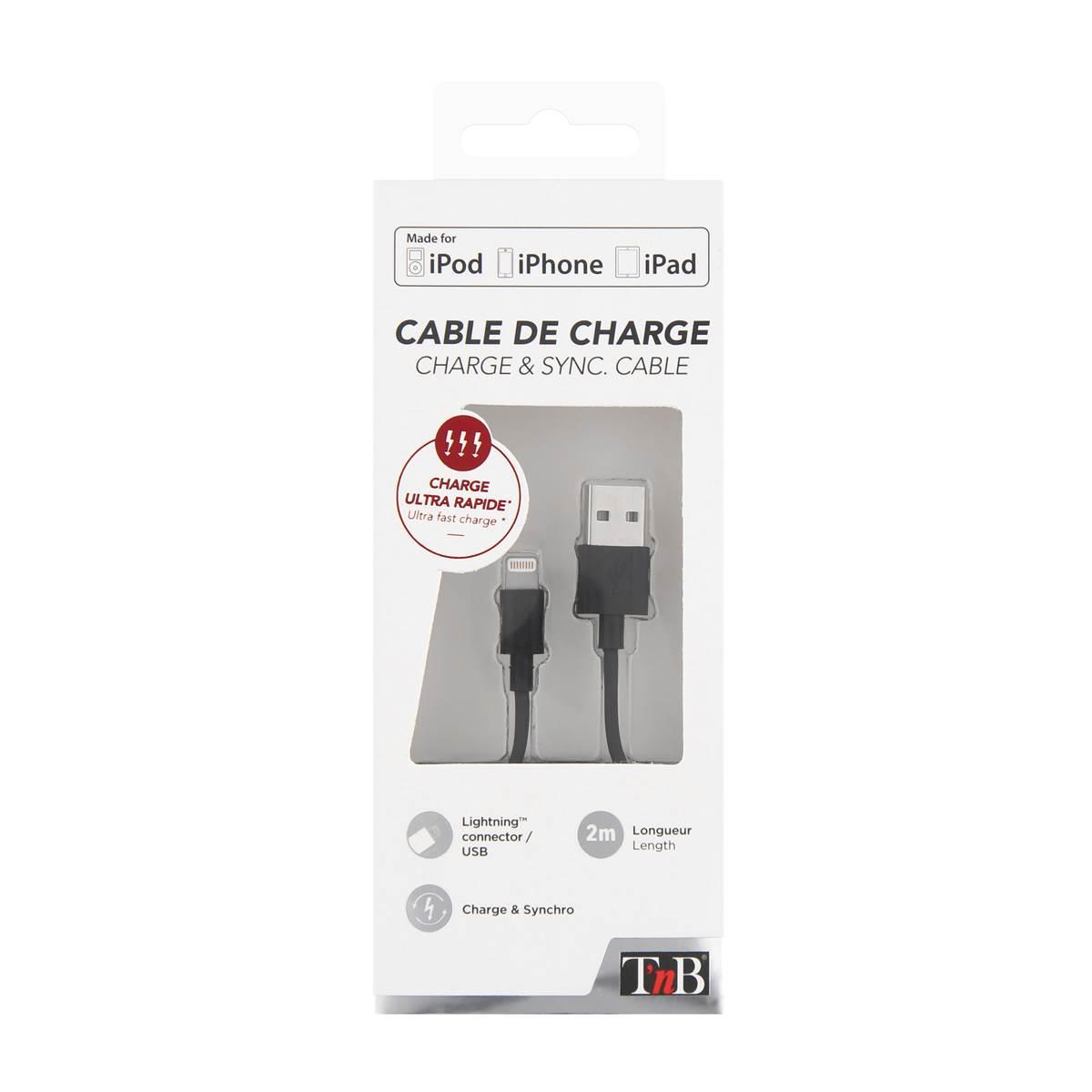 Câble USB/Lightning 2m - coloris noir - T'nb