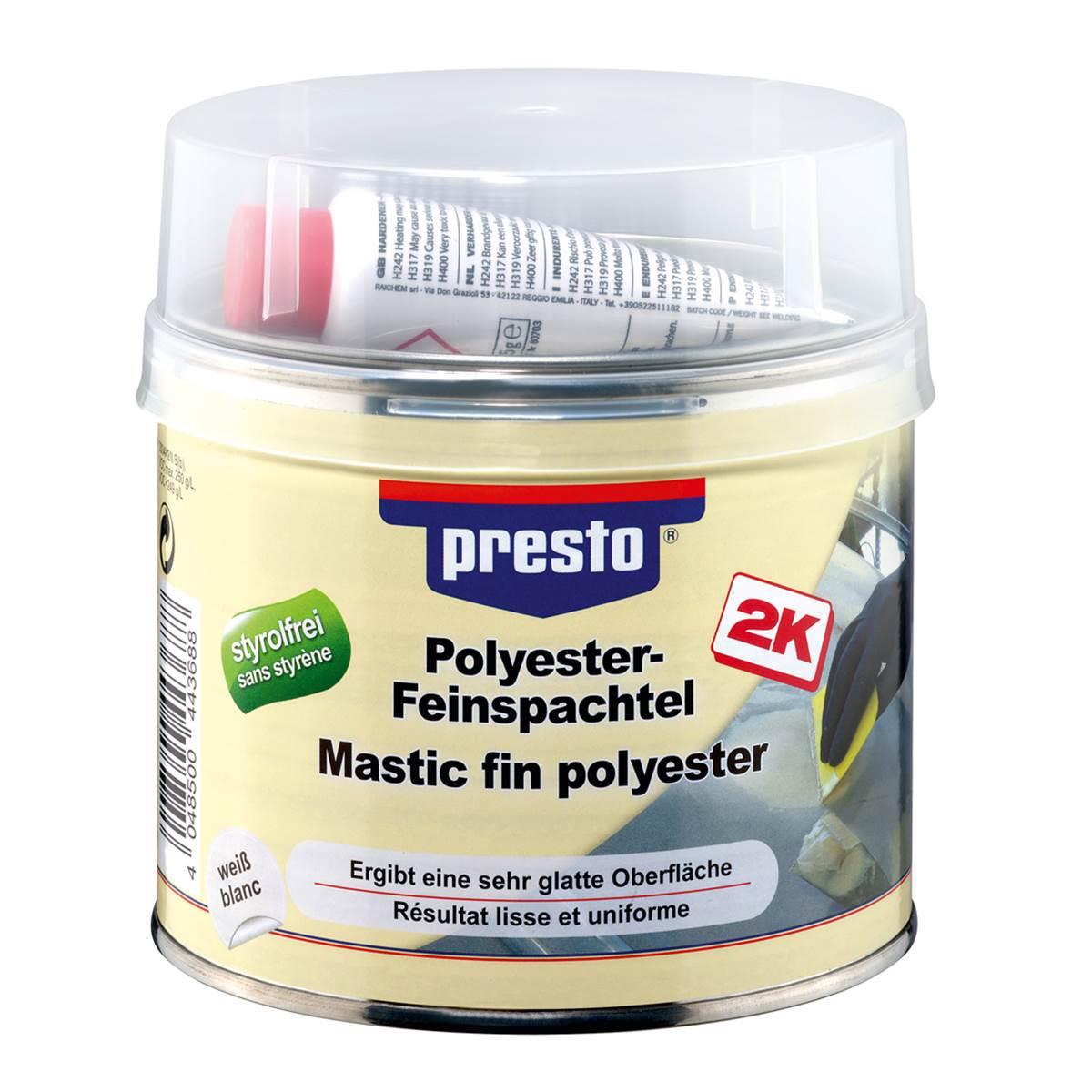 Mastic fin polyester et durcisseur Presto 1kg