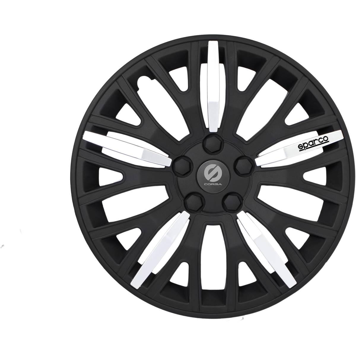 4 enjoliveurs SPARCO 16 gris/noir\
