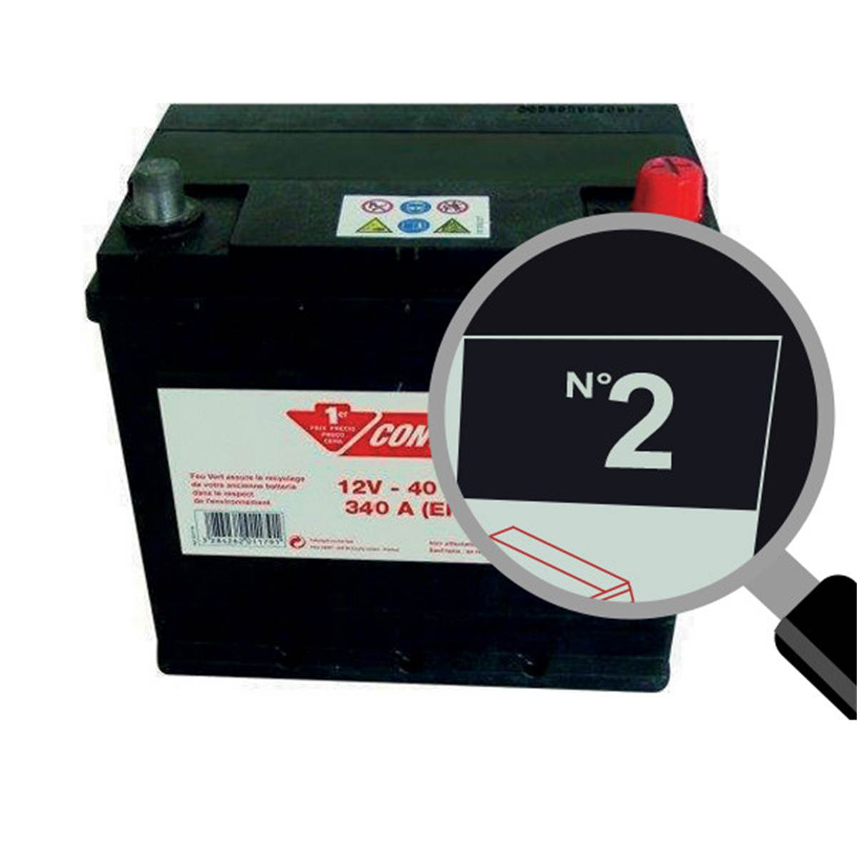 Batterie voiture Contact n°2 - 40Ah / 340A - 12V