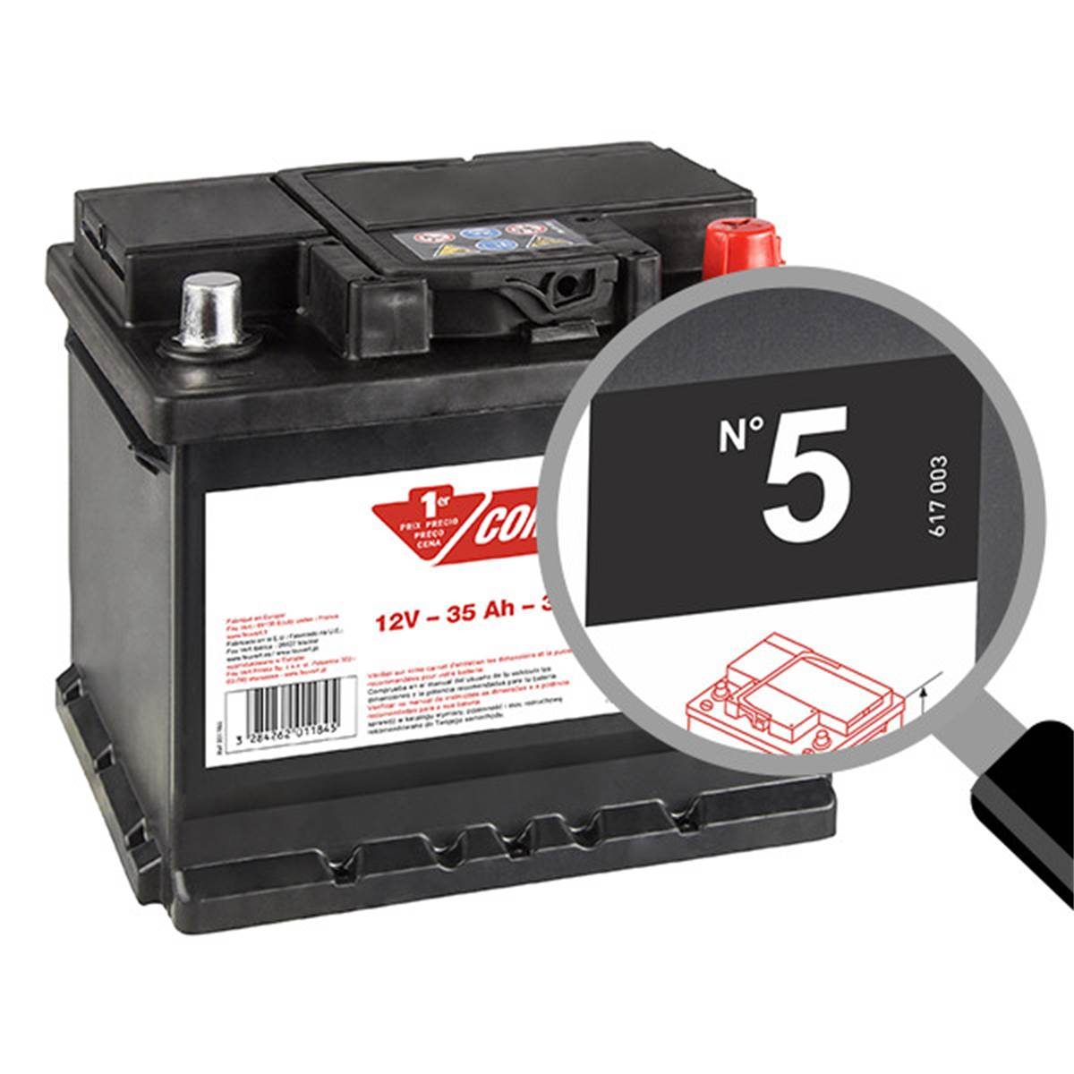 Batterie voiture Contact n°5 - 35Ah / 330A - 12V