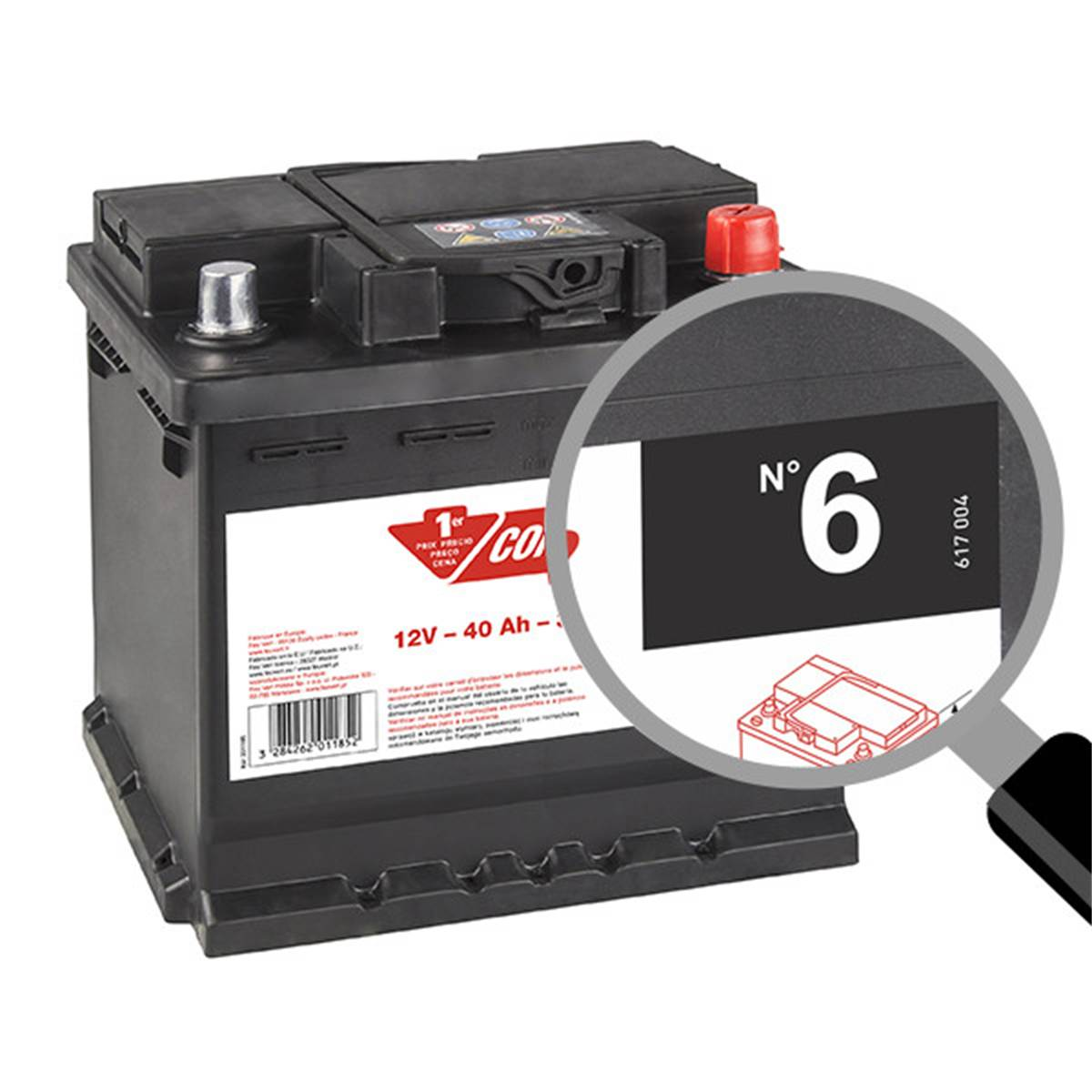 Batterie voiture Contact n°6 - 40Ah / 340A - 12V