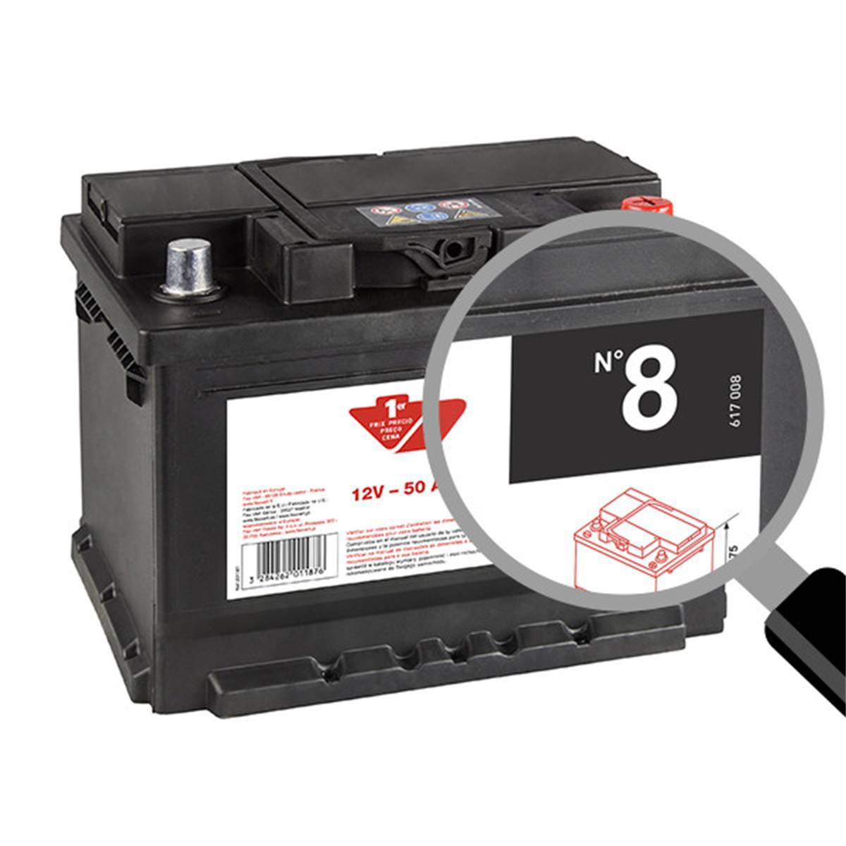 Batterie voiture Contact n°8 - 50Ah / 400A - 12V