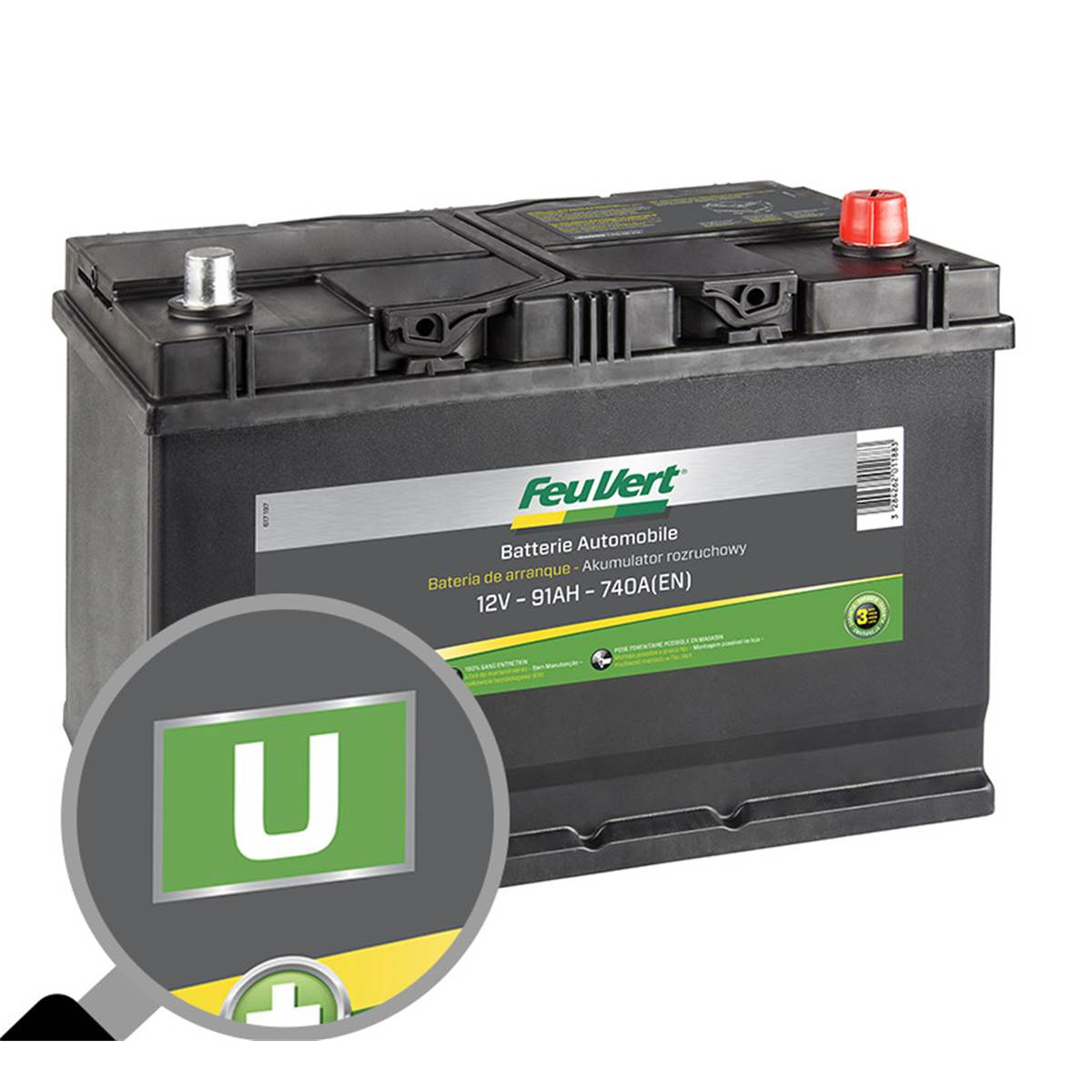 Batterie voiture Feu Vert U - 91Ah / 740A - 12V