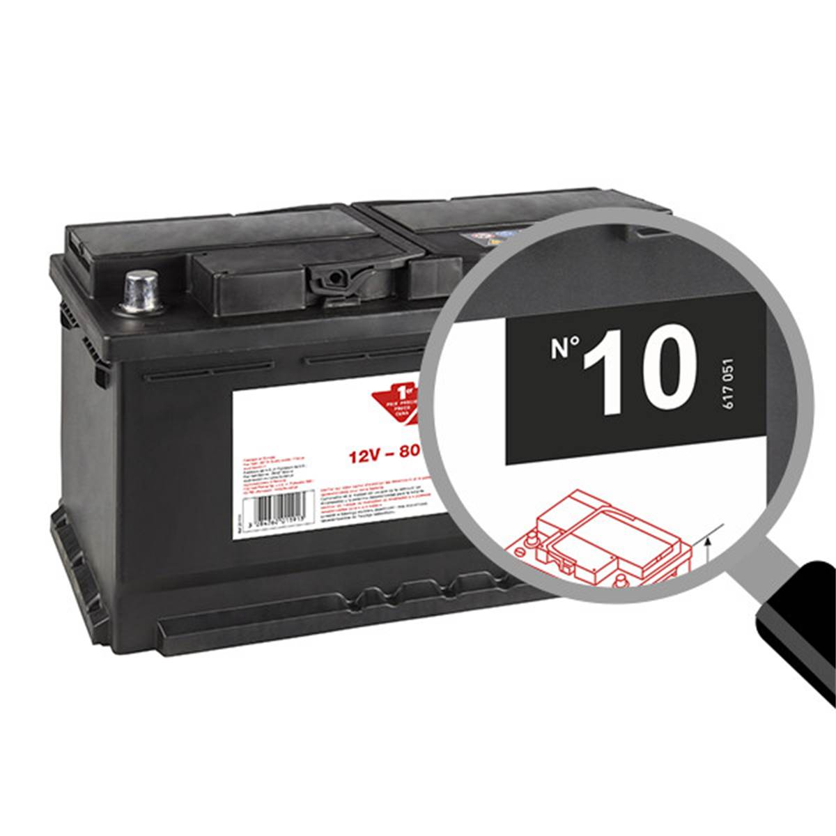 Batterie voiture Contact n°10 - 80Ah / 700A - 12V