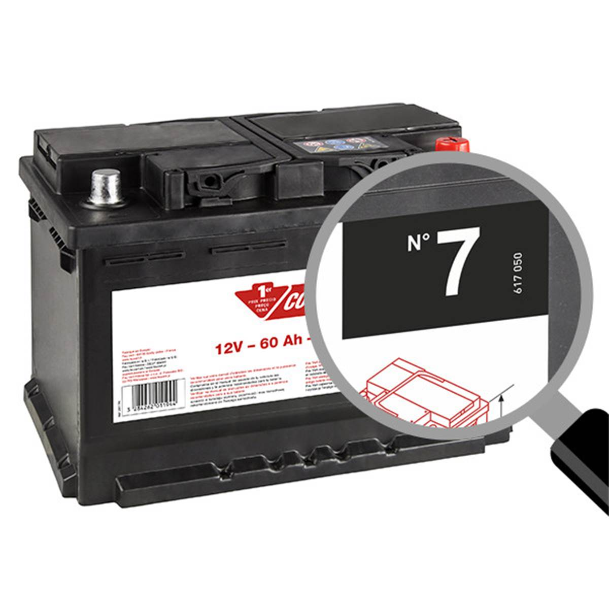 Batterie voiture Contact n°7 - 56Ah / 480A - 12V