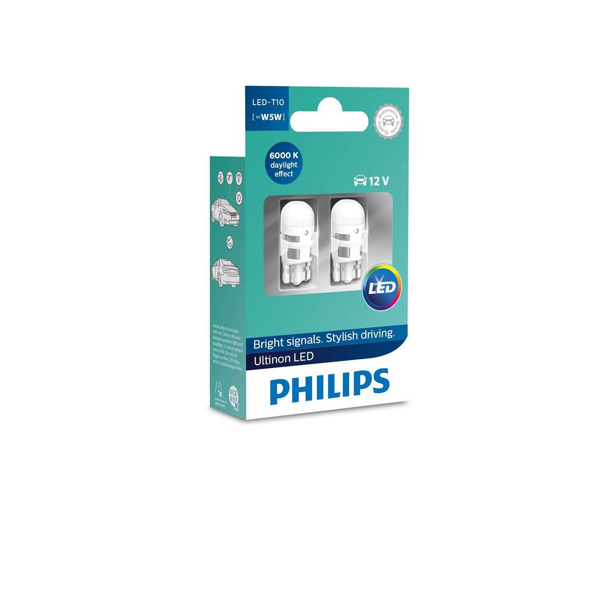 2 AMPOULES PHILIPS PREMIUM LED 6000K W5W/T10