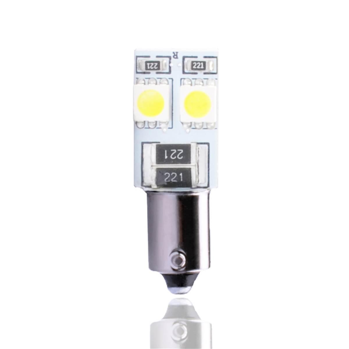 2 ampoules BA9S avec 4 LED blanche