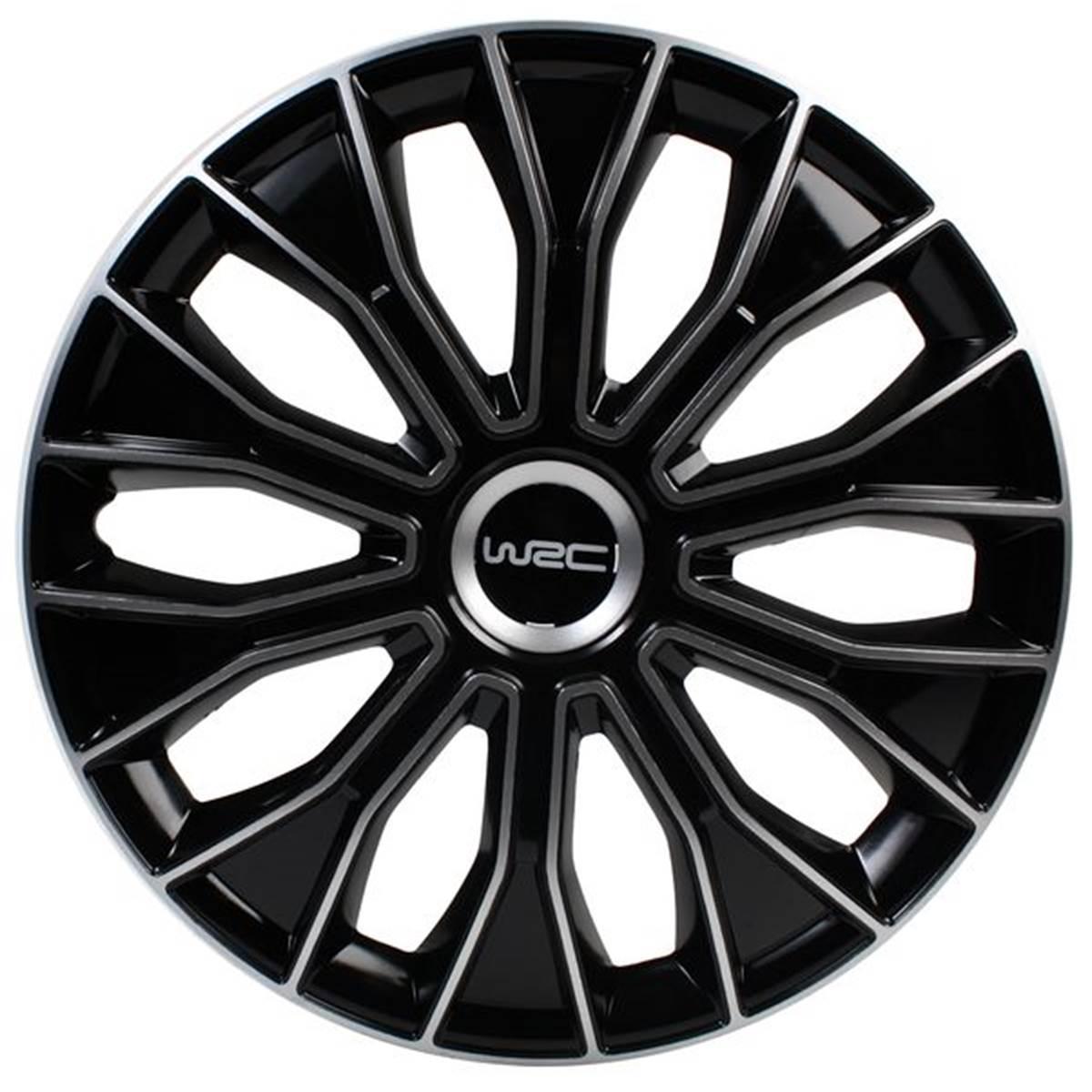 4 Enjoliveurs WRC 15 N°15 Noir/Argent\