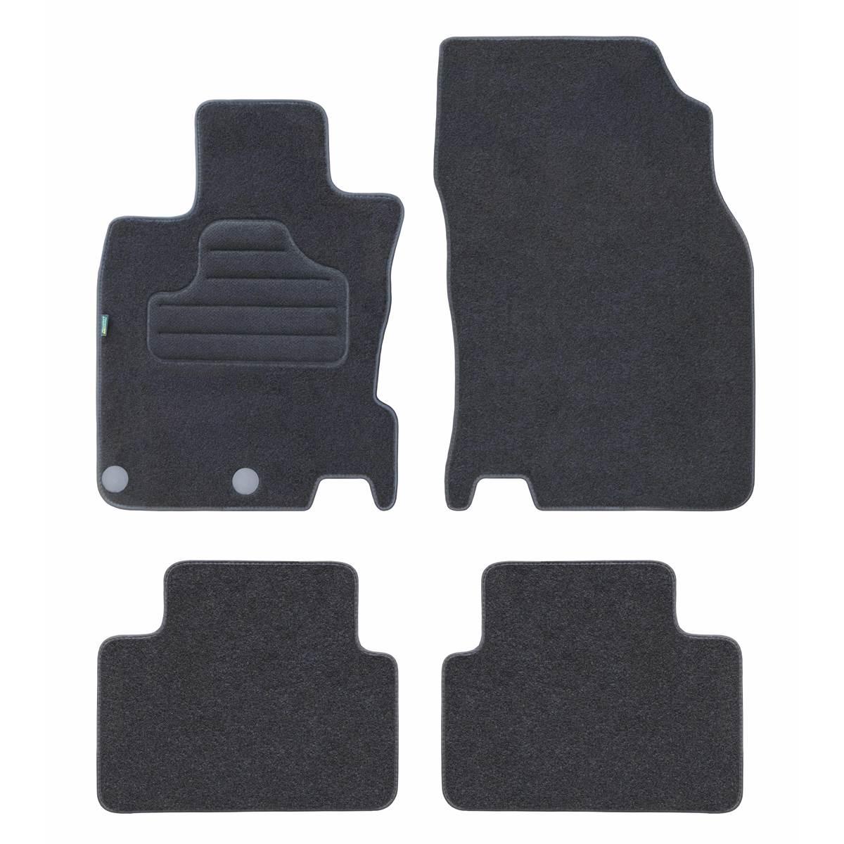 4 tapis sur mesure moquette noire pour Nissan Qashqai II Feu Vert