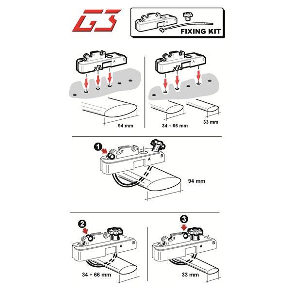 G3 Kit de fixation pour barres de coffre de toit jusqu/à 94/mm