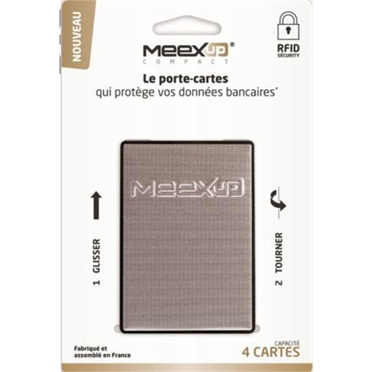 Porte 4 cartes MEEXUP argent sur cartonnette indéchirable