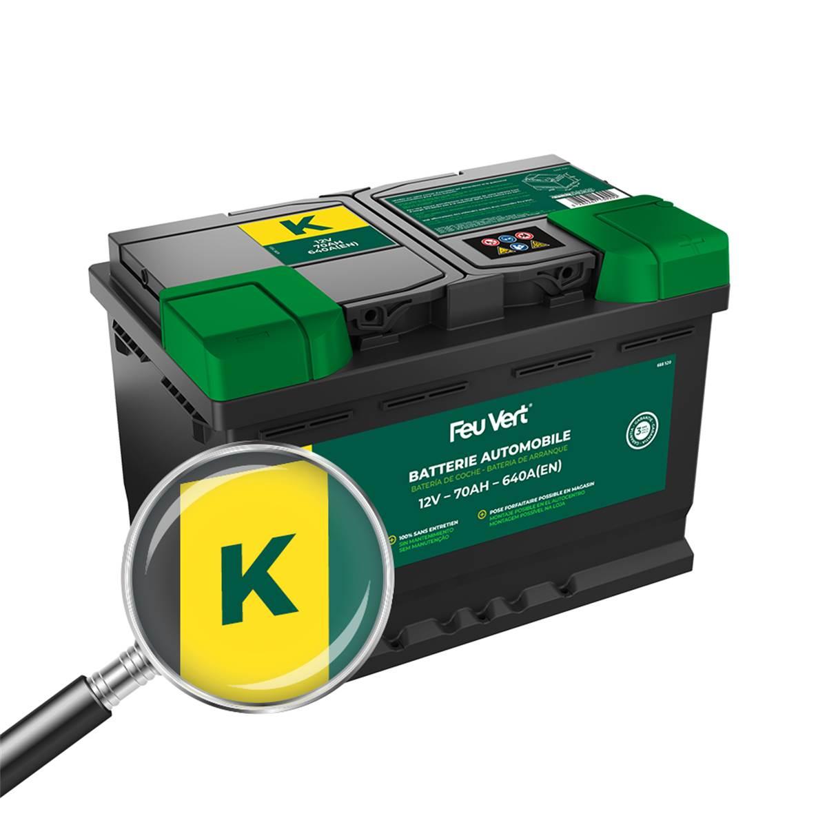 Batterie voiture Feu Vert K - 70Ah / 640A - 12V