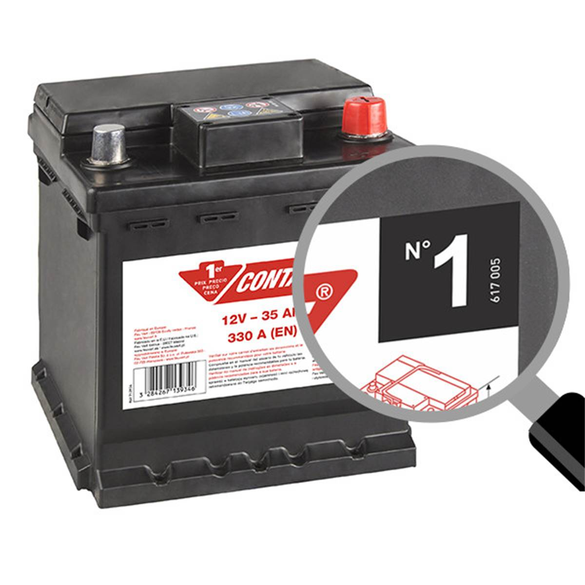 Batterie voiture Contact n°1 - 35Ah / 330A - 12V
