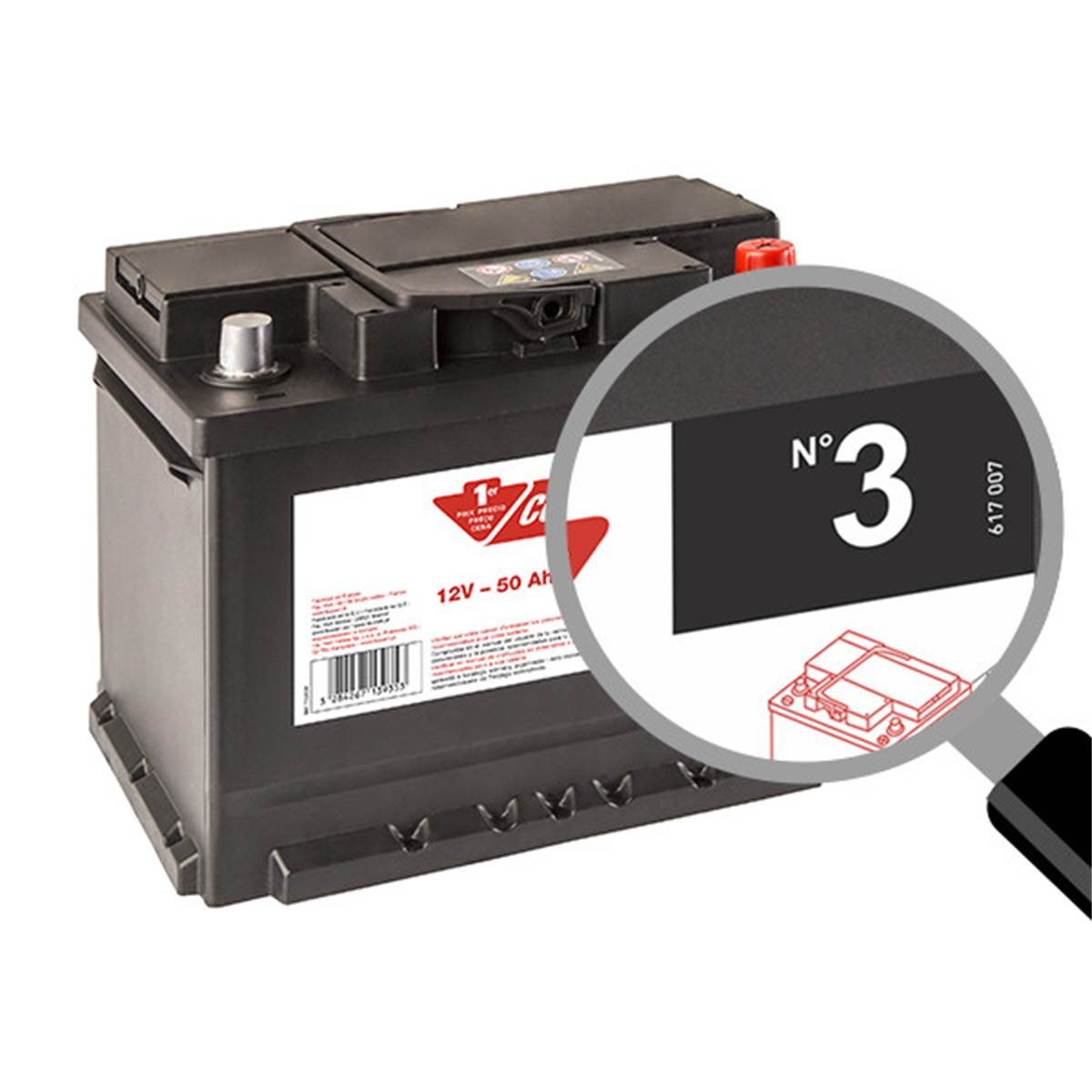 Batterie voiture Contact n°3 - 50Ah / 400A - 12V