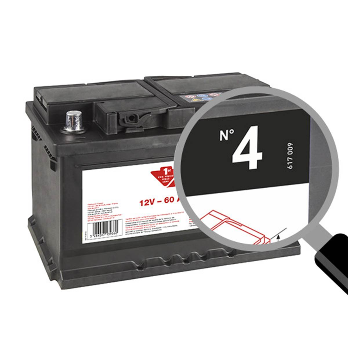 Batterie voiture Contact n°4 - 56Ah / 480A - 12V