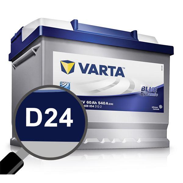 Batterie voiture Varta D24 60Ah 540A 12V Feu Vert